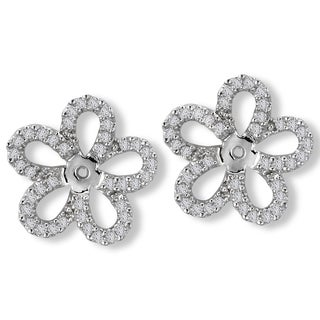 Avanti 14K White Gold 1/3ct TDW Flower Diamond Earring Jackets