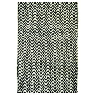 Zig Herringbone Black and Ivory Jute Rug (2' x 3')