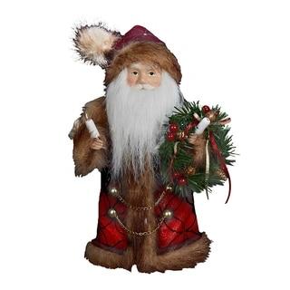Kurt Adler 10-Inch 10-Light Burgundy and Brown Santa Treetop