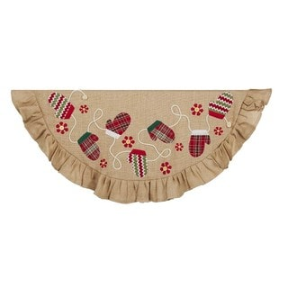 Kurt Adler 48-Inch Tan and Red Applique and Embroidery Treeskirt