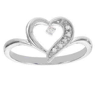 H Star Sterling Silver Diamond Accent Heart Ring (I-J, I2-I3)