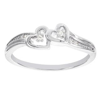 H Star Sterling Silver Diamond Accent Double Heart Promise Ring (I-J, I2-I3)