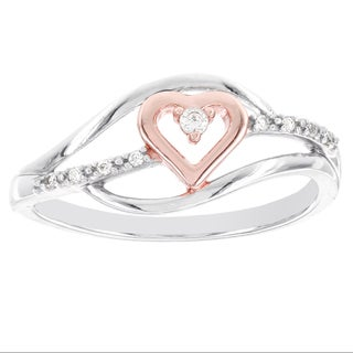 H Star 10k White Gold and Rose-plated Diamond Accent Heart Promise Ring (I-J, I2-I3)
