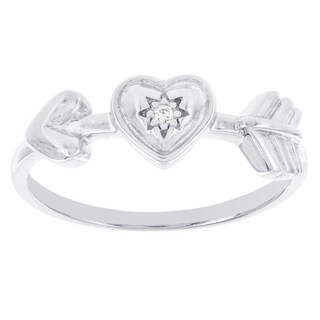 H Star Sterling Silver Diamond Accent Heart with Arrow Promise Ring (I-J, I2-I3)