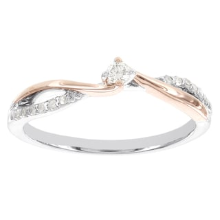 H Star Sterling Silver and 10k Rose Gold 1/10ct TDW Diamond Promise Ring (I-J, I2-I3)
