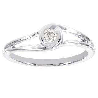 H Star Sterling Silver 1/10ct TDW Diamond Promise Ring (I-J, I2-I3)
