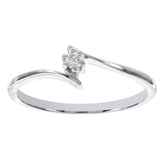 H Star 14k White Gold Diamond Accent Solitaire Promise Ring (H-I, I1-I2)