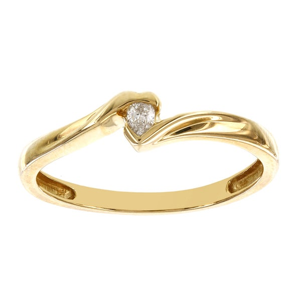 H Star 14k Yellow Gold 1/10ct TDW Diamond Pear-shape Solitaire Promise Ring