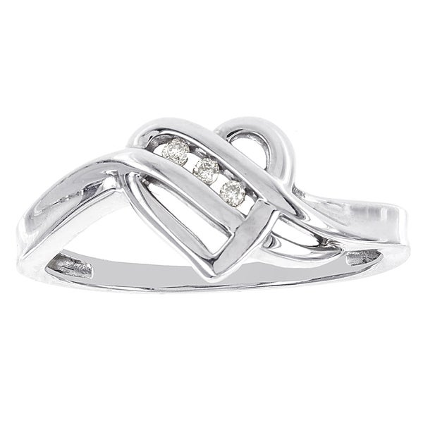 H Star 14k White Gold Diamond Accent Heart Ring