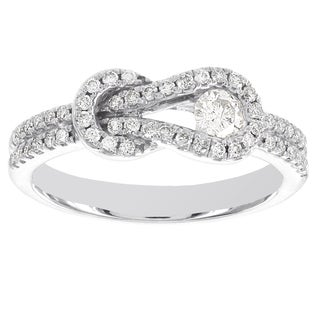 10k White Gold 1/2ct TDW Diamond Love Knot Infinity Ring