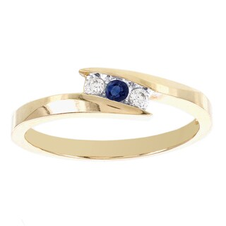 H Star 10k Yellow Gold Diamond Accent Round Sapphire Promise Ring (I-J, I2-I3)