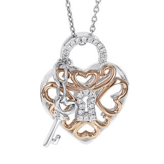 Sterling Silver Two-Tone 1/8ct Diamond Heart Lock and Key Necklace