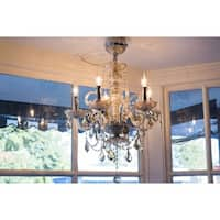 Venetian Collection 5-light Chrome Finish and Golden Teak Crystal 20 x 22-inch Chandelier