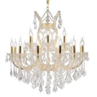 Maria Theresa Grand 19-light Gold Finish and Clear Crystal 2-tier 30 x 28-inch Chandelier