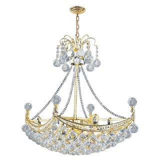 """French Empire Collection 6 Light Gold Finish and Clear Crystal Umbrella Chandelier 24"""""""
