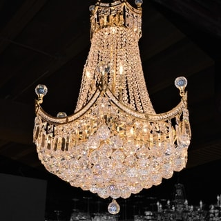 "French Empire Collection 18 Light Gold Finish and Clear Crystal Chandelier 24"" x 32"""