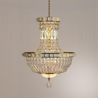 "French Empire Collection 6 Light Gold Finish and Clear Crystal Chandelier 12"" x 16"""