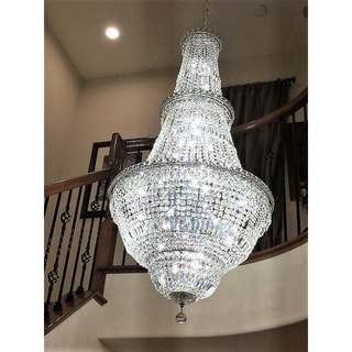 """French Empire Collection 34 light Chrome Finish and Clear Crystal Chandelier 28"""" x 56"""""""