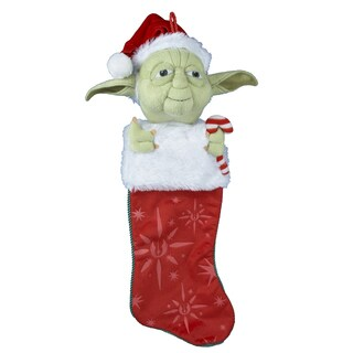 "Kurt Adler 22"" Yoda with Candy Cane Plush Head Stocking"