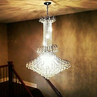 """French Empire Collection 16 Light Chrome Finish and Clear Crystal Chandelier 35"""" x 48"""""""