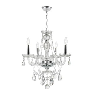 "Venetian Collection Style 4 light Chrome Finish and Clear Crystal Chandelier 23"" x 25"""