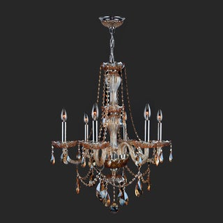 Venetian Italian Style 6-light Chrome Finish and Amber Crystal 23 x 31-inch Chandelier