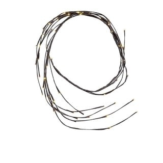 Kurt Adler 6-Foot Brown Twig Garland with 64 White LED Twinkle Lights