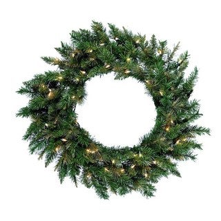 "Kurt Adler 30"" Pre-Lit Designer Series Classic Green Wreath"