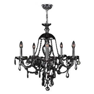 "Venetian Collection 5 light Chrome Finish and Smoke Crystal Chandelier 25"" x 28"""