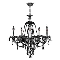 Venetian Italian Style 5-light Chrome Finish and Smoke Crystal 25 x 28-inch Chandelier