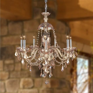 Venetian Italian Style 7-light Chrome Finish and Amber Crystal 26 x 28-inch Large Chandelier