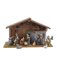 Kurt Adler Nativity Set of 10 Pieces with Figures and Lighted Wooden Stable