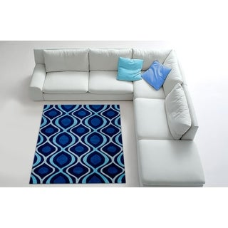 LYKE Home Hand Carved Blue Area Rug (5'3 x 7'2)