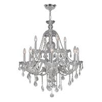 Venetian Italian Style 12-light Chrome Finish and Clear Crystal 2-tier 28 x 31-inch Chandelier