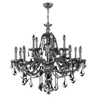 "Venetian Collection 15 light Chrome Finish and Chrome Crystal Chandelier 25"" x 31"" Two 2 Tier"