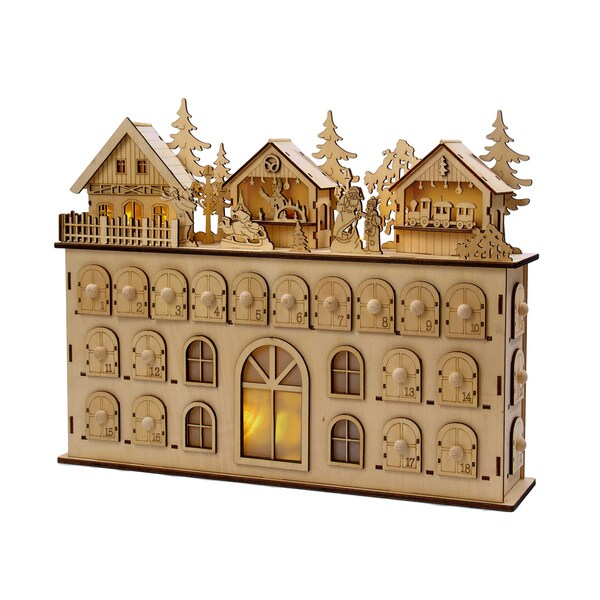 Kurt Adler 13 Inch Led Wooden Advent Calendar Decoration