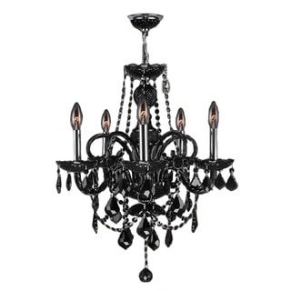 "Venetian Collection 5 light Chrome Finish and Black Crystal Chandelier 20"" x 22"""