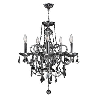 Venetian Italian Style 5-light Chrome Finish and Smoke Crystal 20 x 22-inch Chandelier