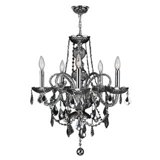 "Venetian Collection 5 light Chrome Finish and Smoke Crystal Chandelier 20"" x 22"""