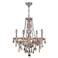 Venetian Italian Style 5-light Chrome Finish and Amber Crystal 21 x 26-inch Chandelier