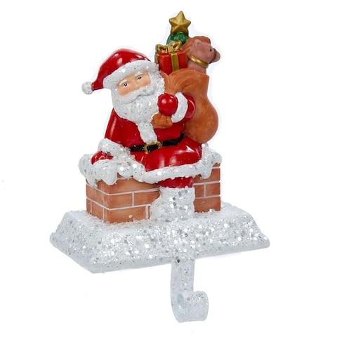 Kurt Adler 6.5-Inch Resin Santa with Gift Box Stocking Holder