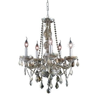Venetian Collection 5-light Chrome Finish and Golden Teak Crystal 21 x 26-inch Chandelier