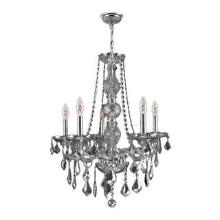 Venetian Italian Style 5-light Chrome Finish and Smoke Crystal 21 x 26-inch Chandelier
