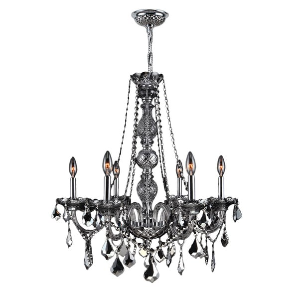 Venetian Italian Style 6 Light Chrome Finish And Smoke Crystal 24 X 28 Inch