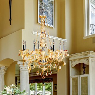 """Venetian Collection 8 Light Chrome Finish and Amber Crystal Chandelier 28"""" x 34"""""""