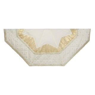 Kurt Adler 52 in. Ivory with Quilted Border Treeskirt