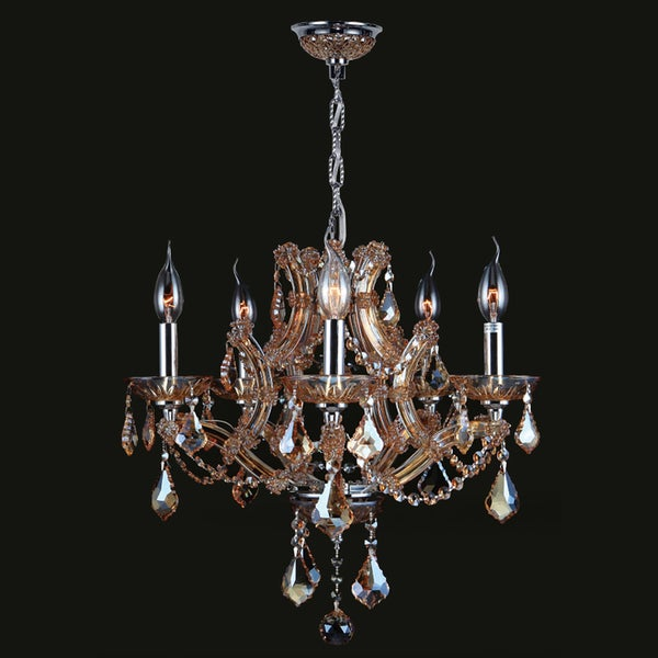 Maria theresa collection 5 light chrome finish and amber crystal maria theresa collection 5 light chrome finish and amber crystal chandelier 19 aloadofball Gallery