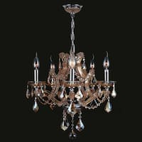 "Maria Theresa Collection 5 Light Chrome Finish and Amber Crystal Chandelier 19"" x 18"""