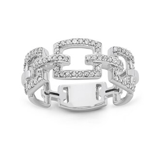 10K White Gold 1/3ct TDW Diamond Link Ring
