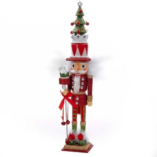 Kurt Adler 15 in. Hollywood Red and Green with Tree Hat Nutcracker